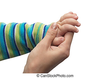 hands of the child and mother on a white background