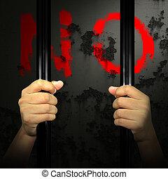 Hands of the prisoner on the prison