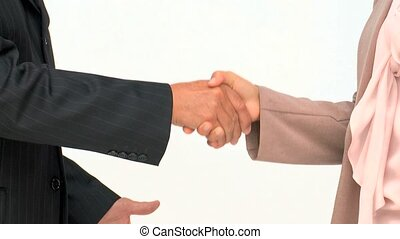 Hands of two business people isolated on a white background