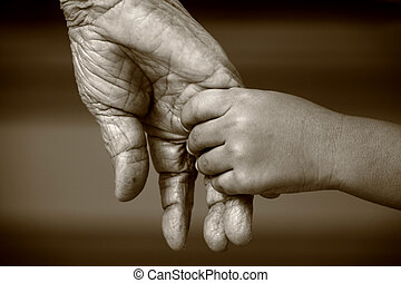 Hands of two generation