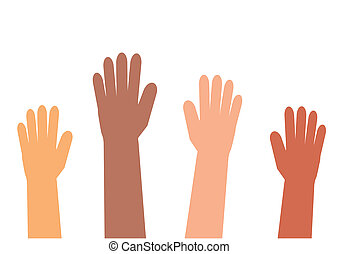 Hands of various people on a white background.