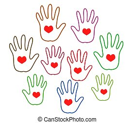Hands of various people on a white background. Vector.