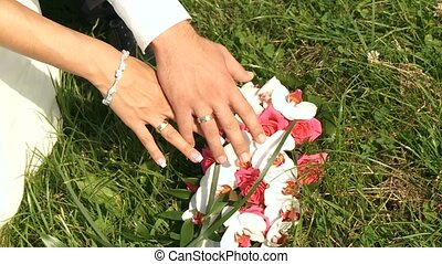 Hands of Wedding Couple - video footage of a wedding couple