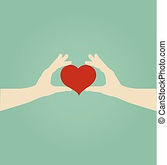 Hands of Woman Holding Red Heart, Love Concept