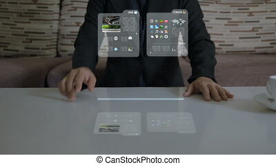 Hands of woman using hologram application for business checking imagination futuristic concept