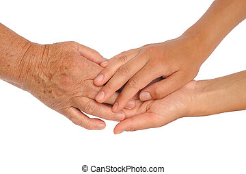 Hands of young and senior women - helping hand concept -...