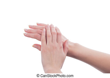 hands of young caucasian girl