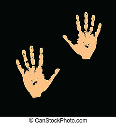 hands on a black background