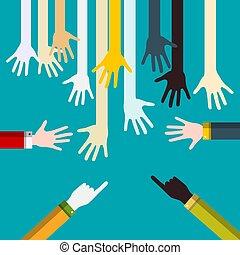 Hands on Blue Background. Vector Flat Design Illustration.