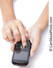 Hands on cellphone typing SMS - Man's hand holding a ...