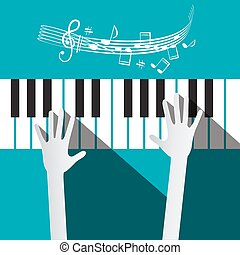 Hands on Piano Keyboard with Stuff and Notes on Blue Background