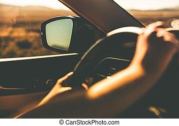 Hands on Steering Wheel Summer Trip Closeup. Car Driving