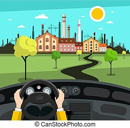 Hands on Stering Wheel in Car on Road with Factory and Abstract Landscape on Background - Vector