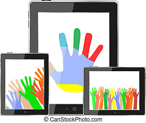 Hands on tablet pc screen. digital devices set