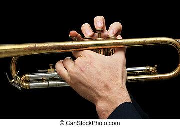 hands on trumpet