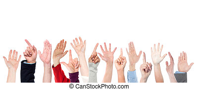 Hands on white background, copy space. - Hands raised up....