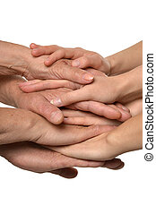 Hands on white together