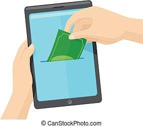 Hands Online Savings Tab Illustration - Concept Illustration...