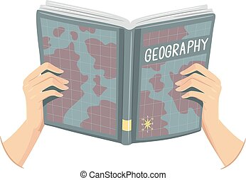 Hands Open Geography Book Illustration