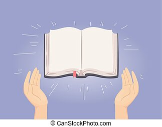 Hands Open Holy Bible Illustration