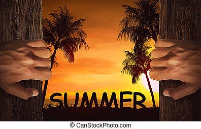 Hands open the door with beach view background