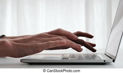 Hands opening computer white background