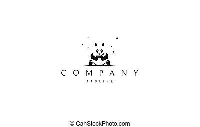 hands., panda, vettore, seduta, immagine, ciotola, astratto, logotipo, suo