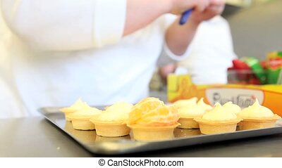 hands pastry prepare fruit sweets - hands pastry prepare...