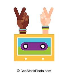 hands peace and love cassette hippie retro