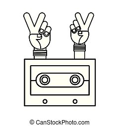 hands peace and love cassette hippie retro