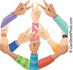 Hands Peace Sign - Illustration of Teens Forming the Peace...