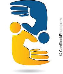 Hands people teamwork logo