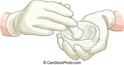 Hands pharmacist with a pestle and mortar. Vector illustration.