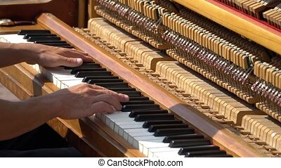 Hands pianist playing music piano. Musical Instrument piano...