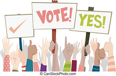 Hands Placard Vote Sign - Illustration of a Group of People ...