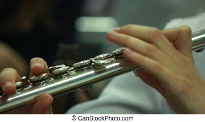 Hands play wind instrument - man's hands playing a wind...