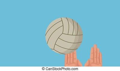 hands playing volleyball animation  illustration design
