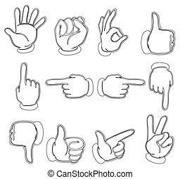 Hands pointing on the different locations - Illustration of...