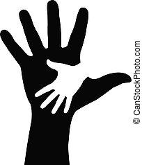 hands., portion, vektor, abbildung
