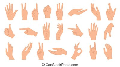 Hands poses. Female hand holding and pointing gestures, fingers crossed, fist, peace and thumb up. Cartoon human palms and wrist vector set