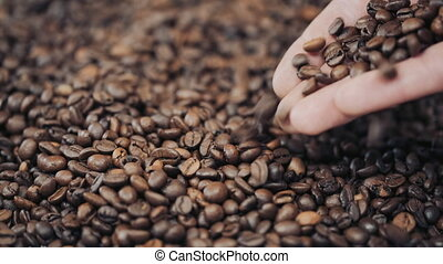hands pouring coffee in slow motion