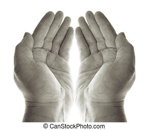 hands pray or beg for charity or blessing. hand palms in...