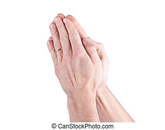 Hands praying man