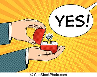 Hands precious ring pop art vector illustration