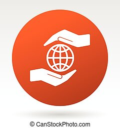 Hands protect the earth vector icon.