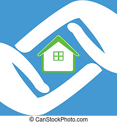 Hands protecting a house logo