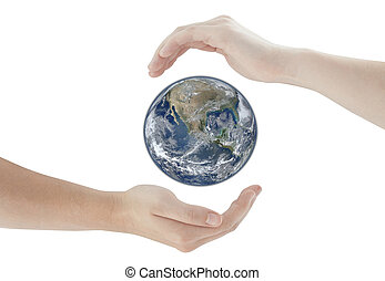 hands protecting Earth Globe. Elements of this image furnished by NASA