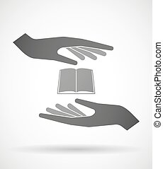 Hands protecting or giving a book