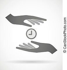 Hands protecting or giving a clock