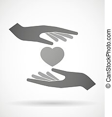 Hands protecting or giving a heart